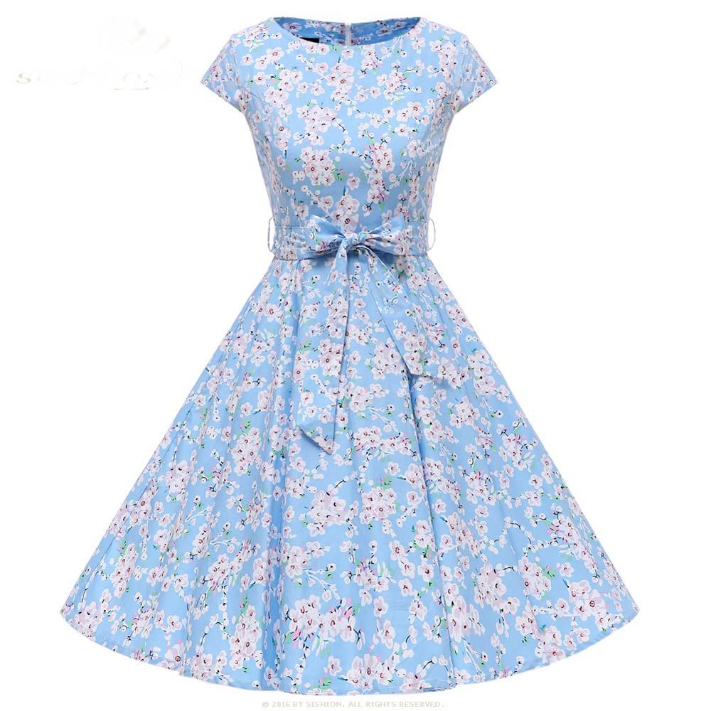 1950s Cap Sleeve Belt Decoration Flower Dress
