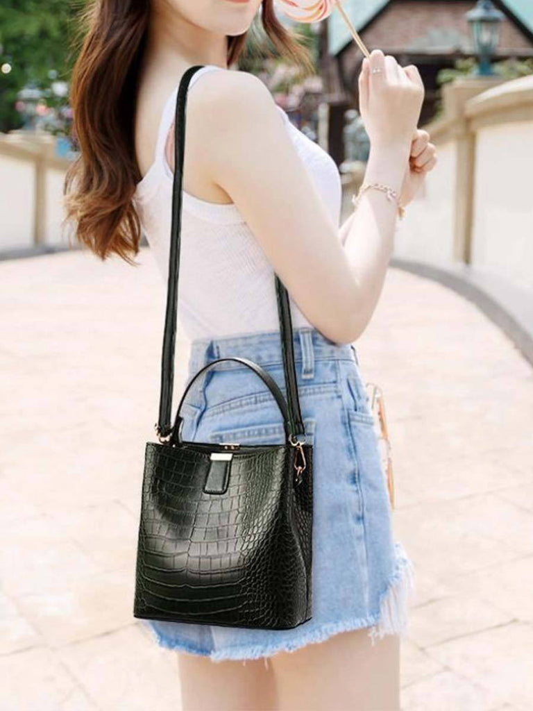Retro Bucket Bag Ladies Crocodile Pattern Shoulder Messenger Bag