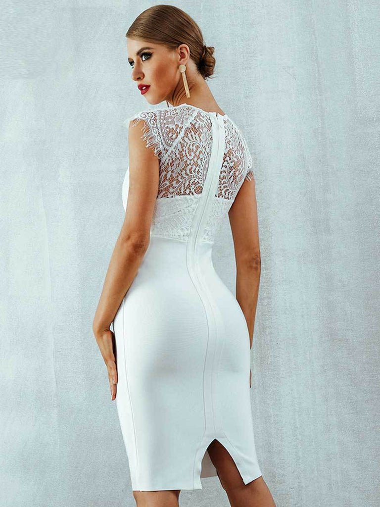 Lace Short Sleeve Hollow Out Dress