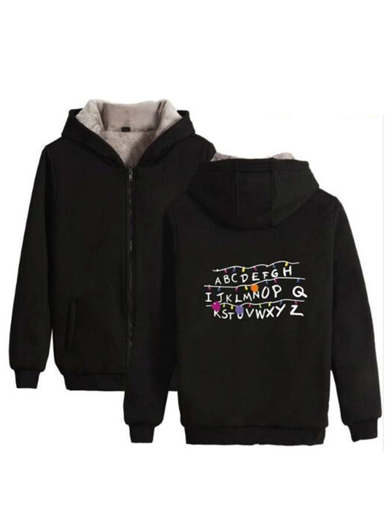 Stranger Things Sweatshirt Villus Thicken Zipper Hoody Top