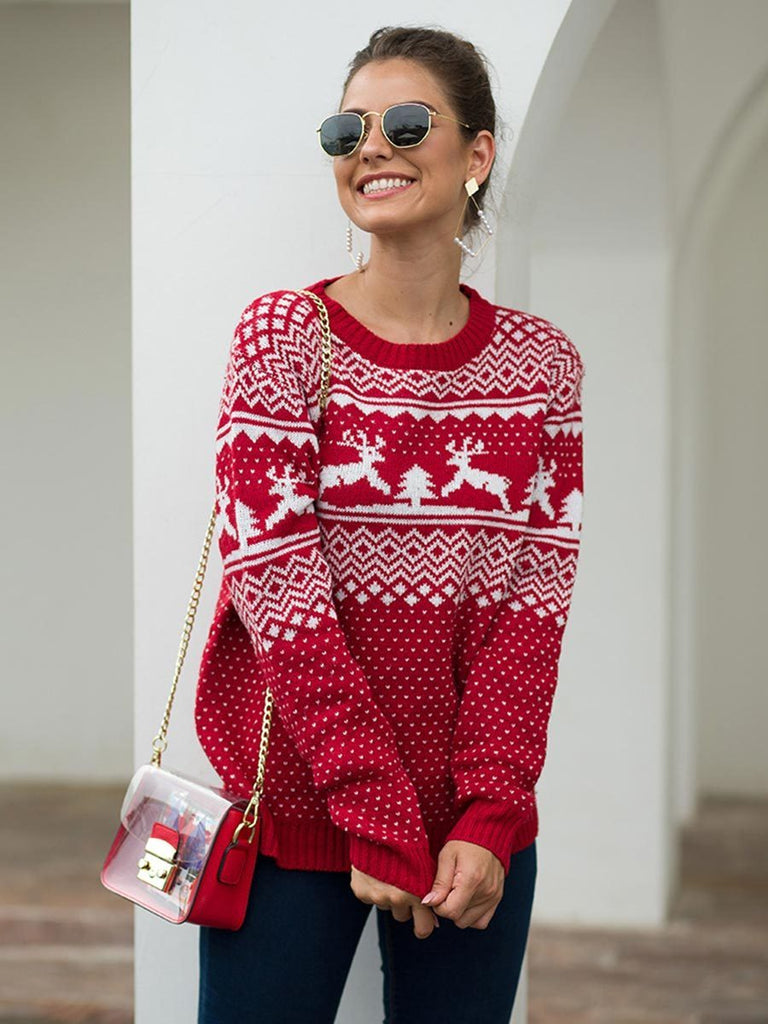 Knitted Sweater Crew Collar Christmas Pattern Long Sleeve Jumper