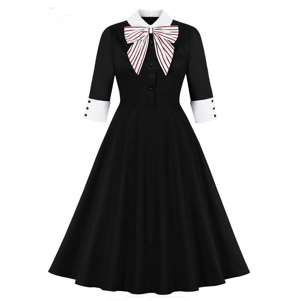 Half Sleeve Slim Swing Big Bow Dress