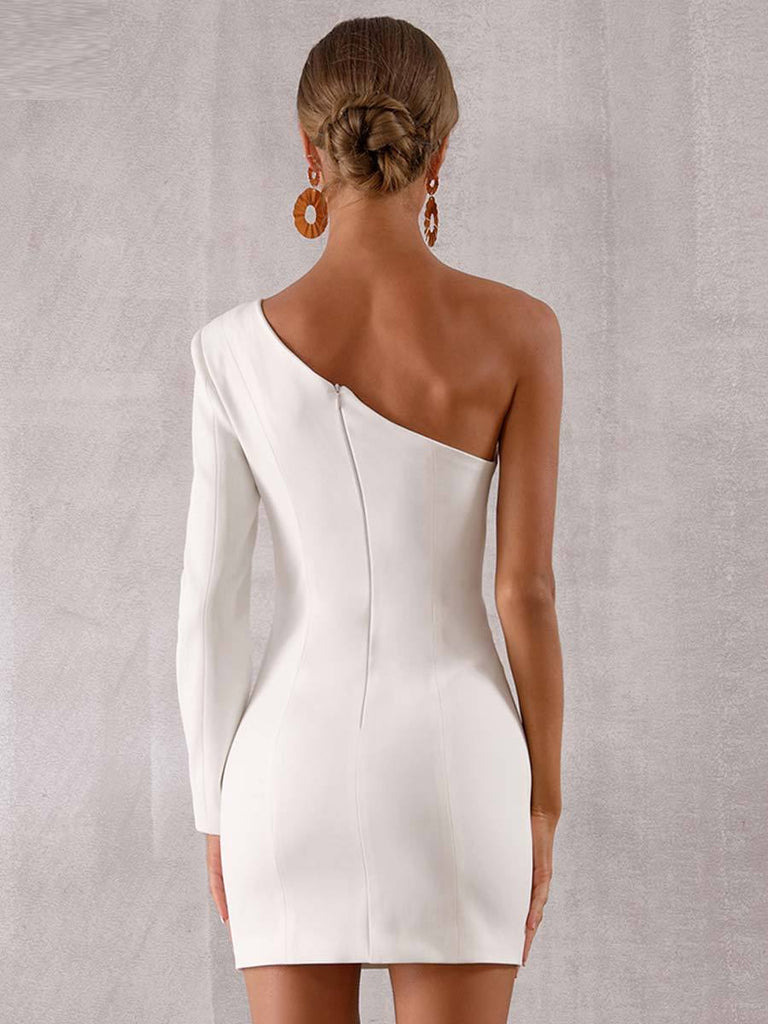 Women White One Shoulder Evening Dress