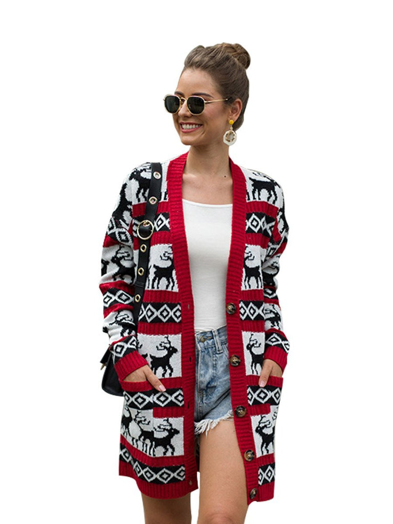 Christmas Cardigan Women Deer Print Pocket Design Long Knit Jacket