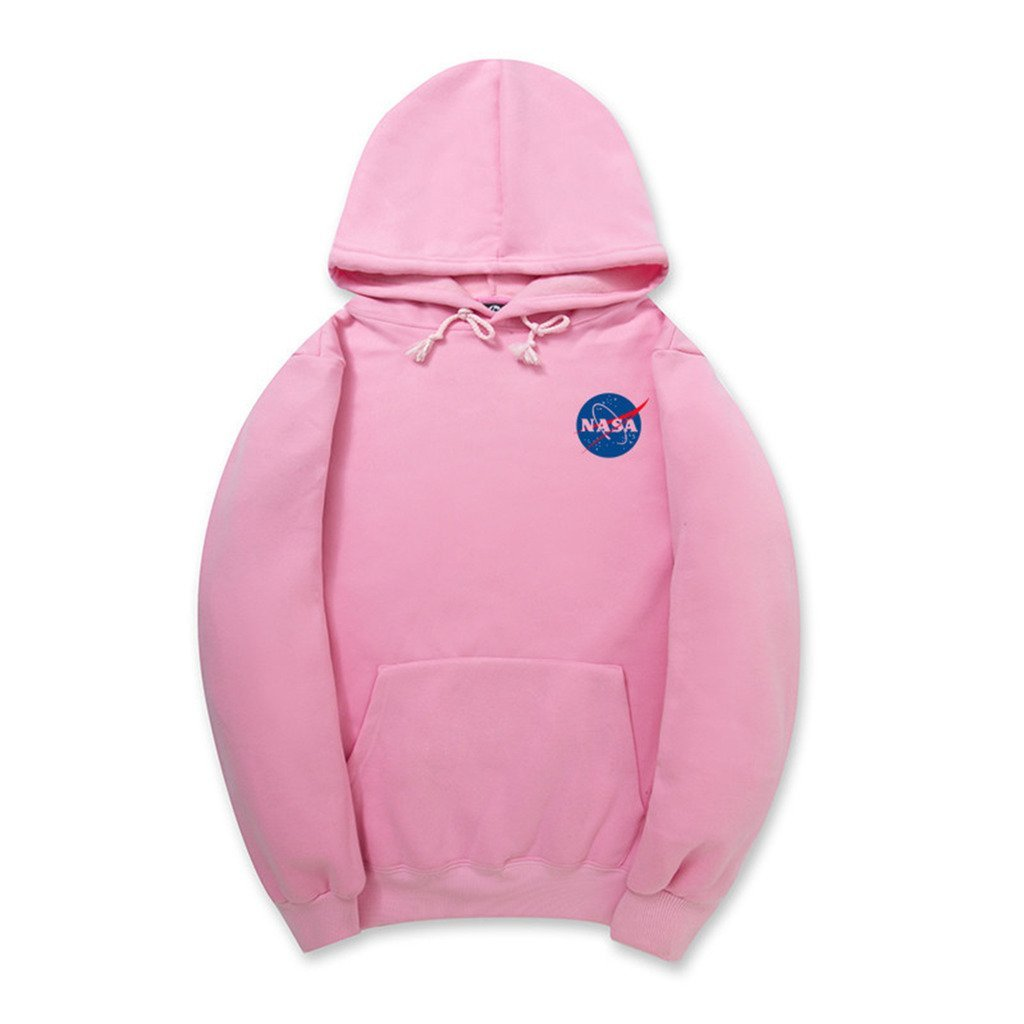NASA Logo Print Hoodie Sweatshirt With Pocket