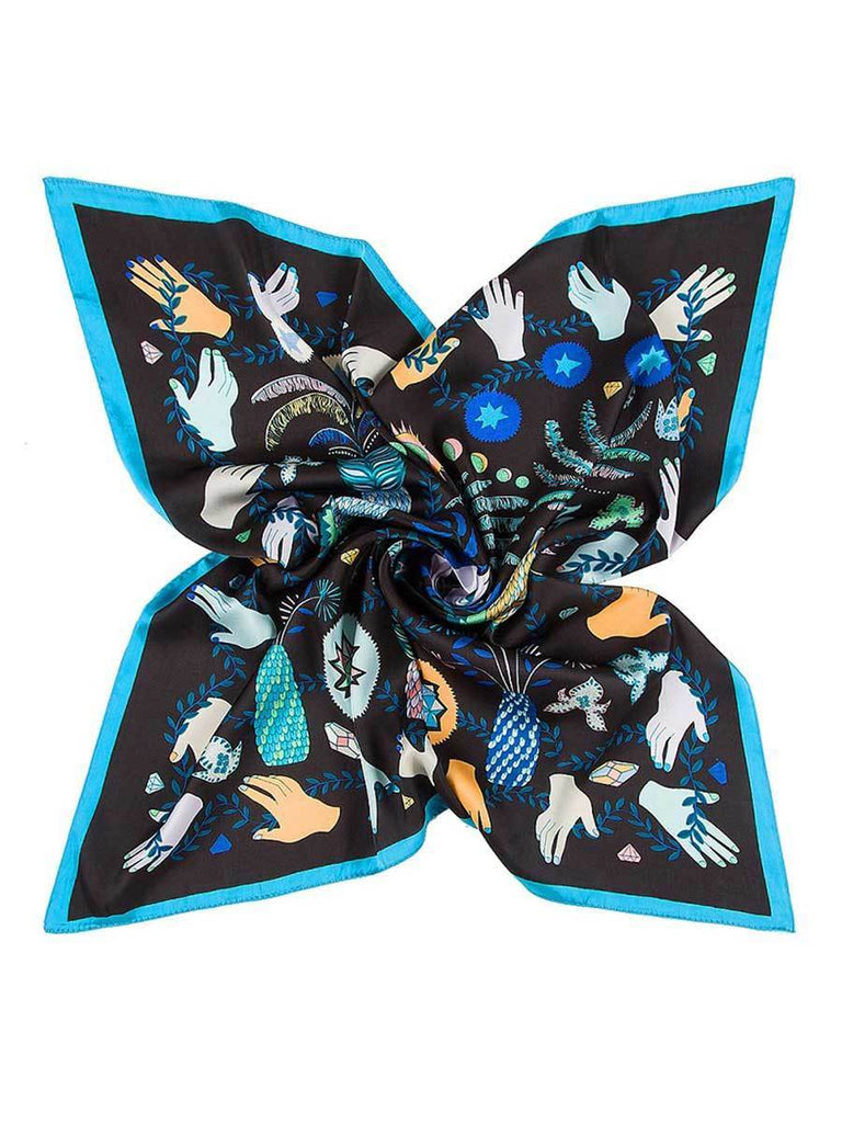 Lady Accessories Monster Eyes Embroidery Silk Foulard Square Scarf