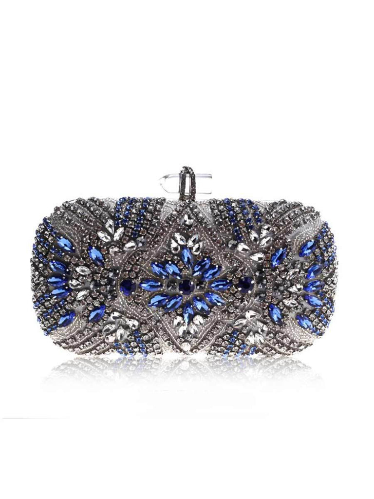 Crystal Chain Shoulder Bag Blue Evening Bag