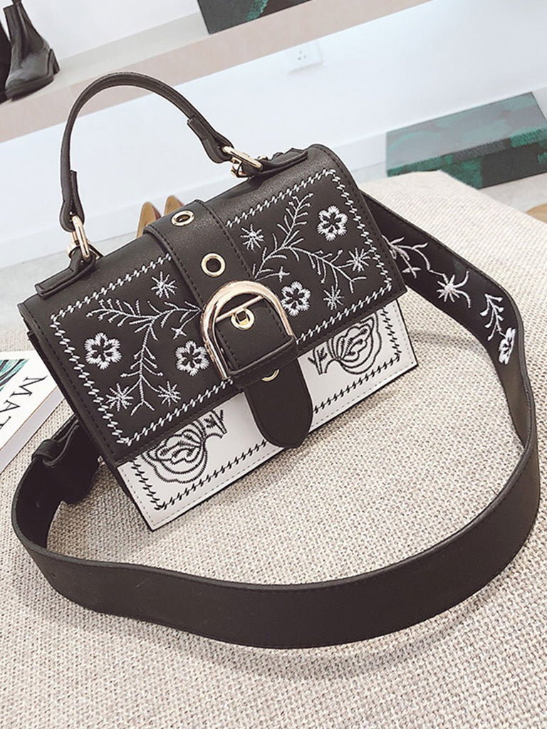 Women Bag Vintage Flower Embroidery Pattern Messenger Bag