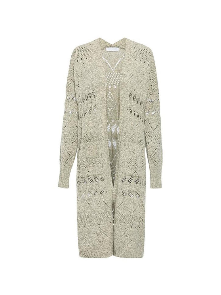 Womens Streetwear Solid Color Hollow-out Long Knitted Cardigan