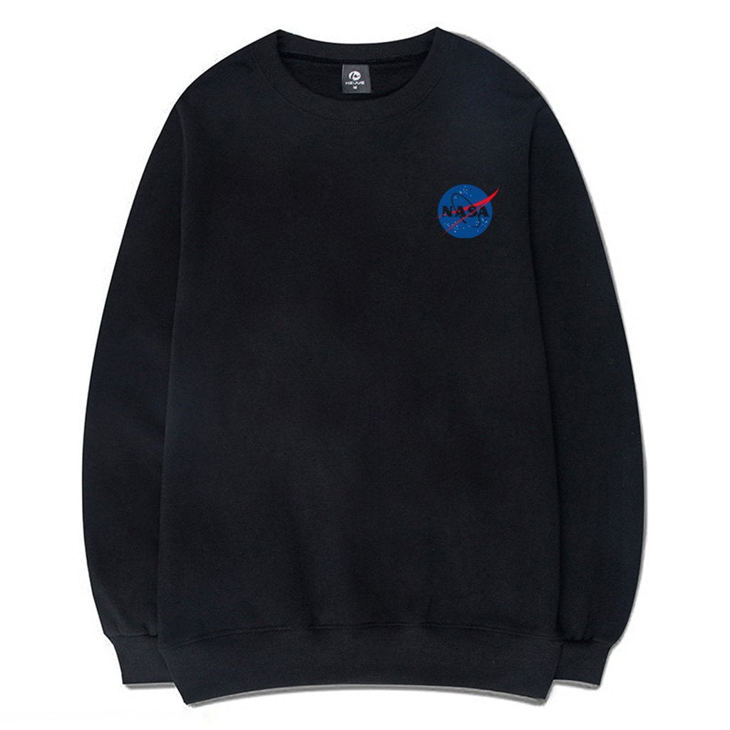 Fashion NASA Logo Print Sweatshirt With Pocket