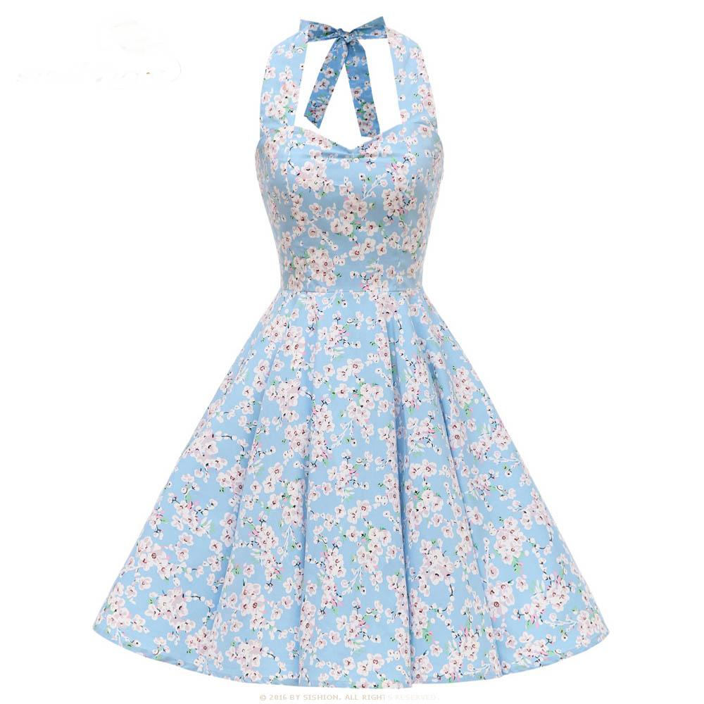 Retro Halter Floral Dress Backless Large Swing Dress