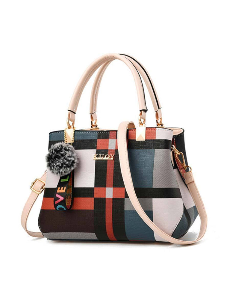 Casual Shoulder Bag Fashion Plaid Stitching Wild Handbag