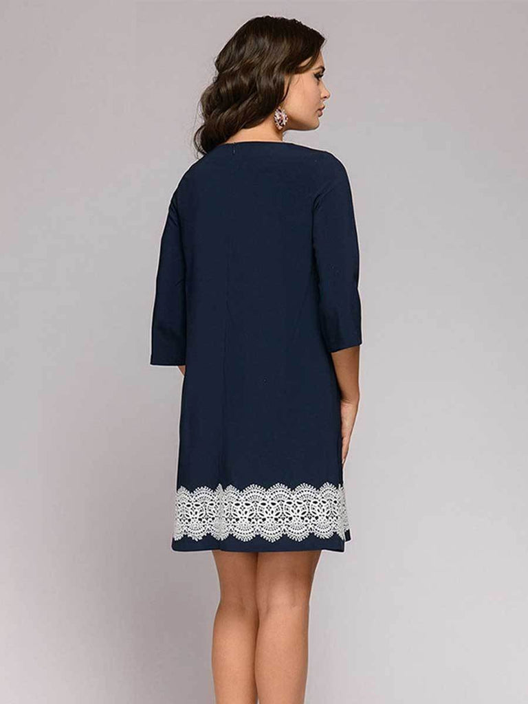 Lace Patchwork Round Neck Three Quarter Sleeve Dress