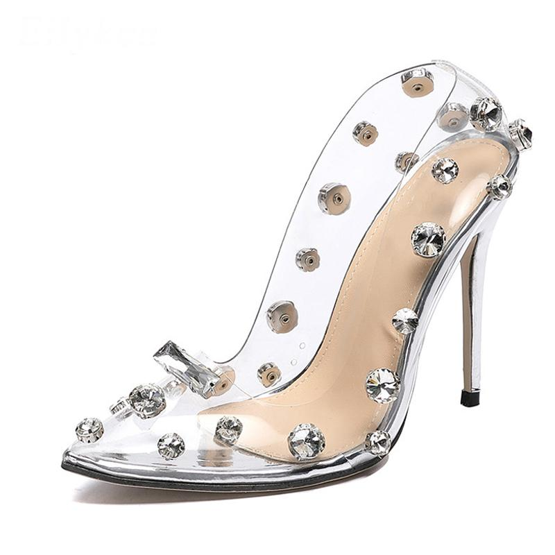 High Heels PVC Transparent Rivet Crystal Pumps Women Shoes