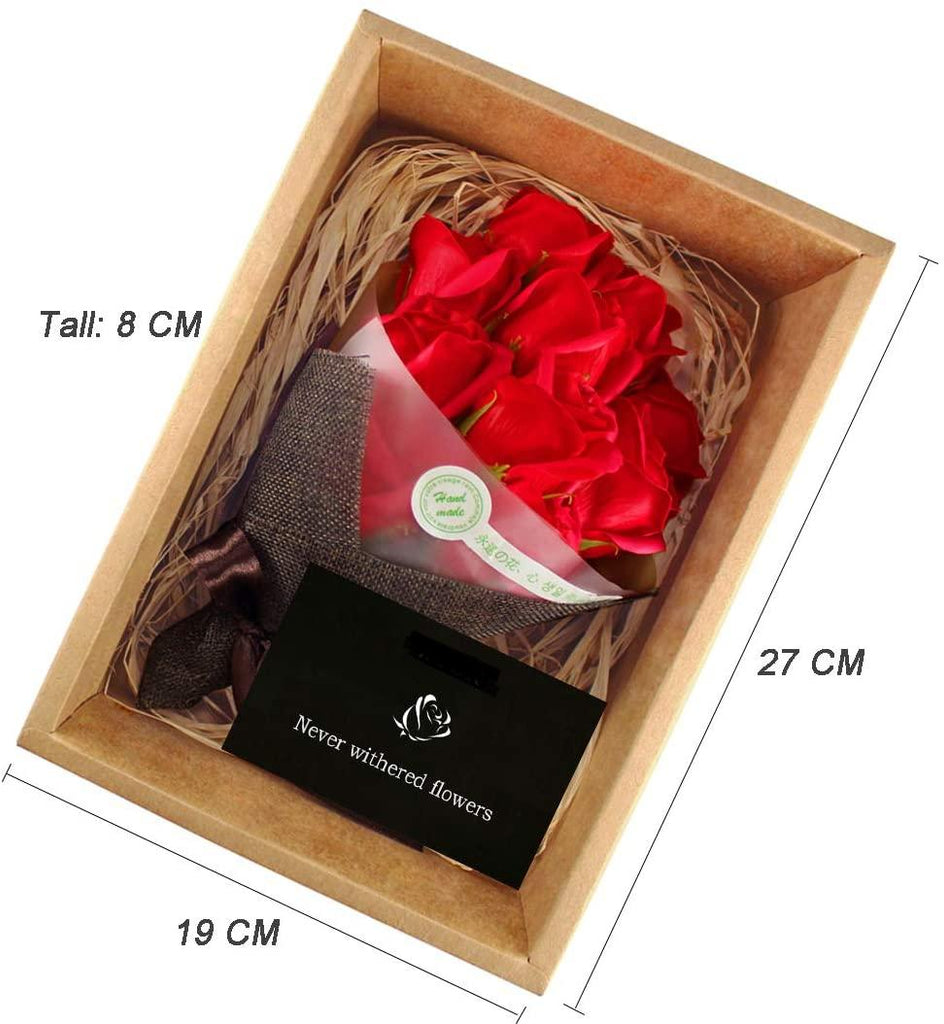 11Pcs Red Roses Artificial Soap Rose Flowers With LED Light Gift