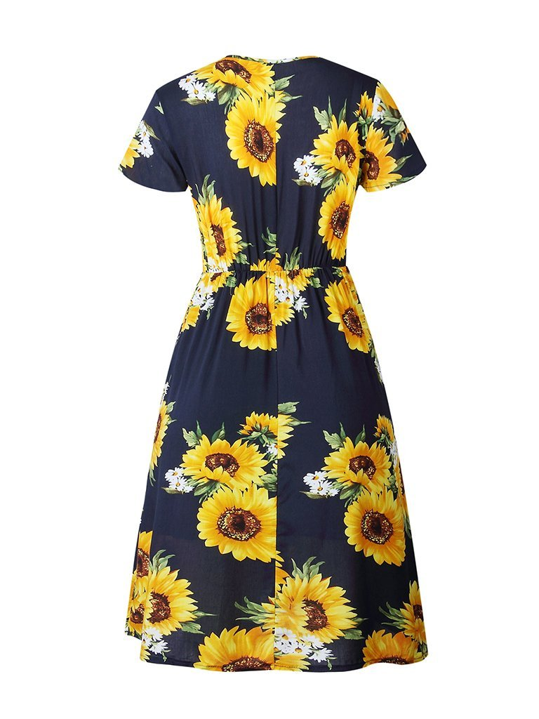 Womens Floral Print Dress Sunflower Button V-neck Short Sleeve Dress