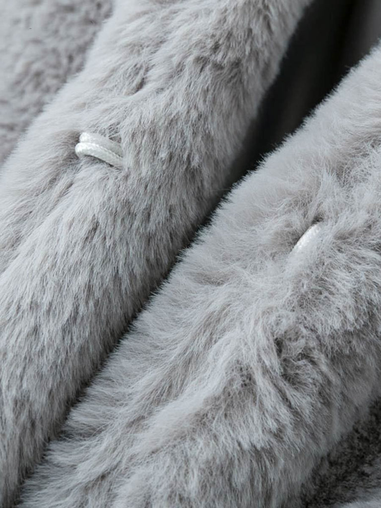 Casual Streetwear Elegant Shaggy Synthetic Fur Coat