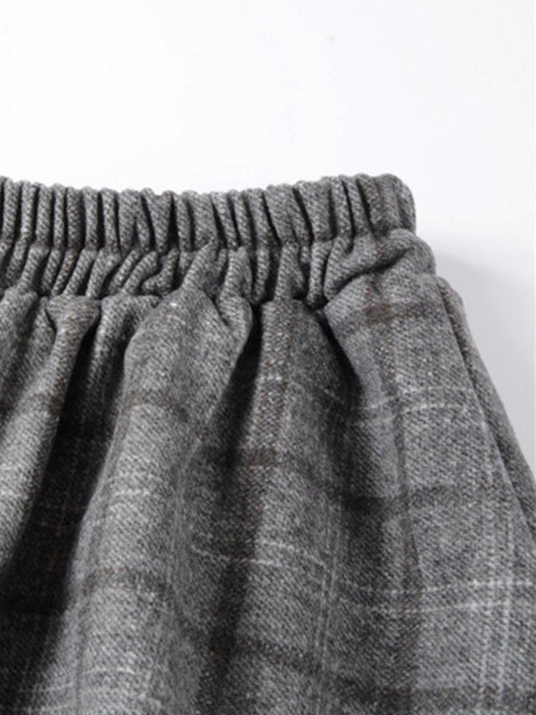 England Style Skirt High Waist Plaid Pleated Midi Skirt