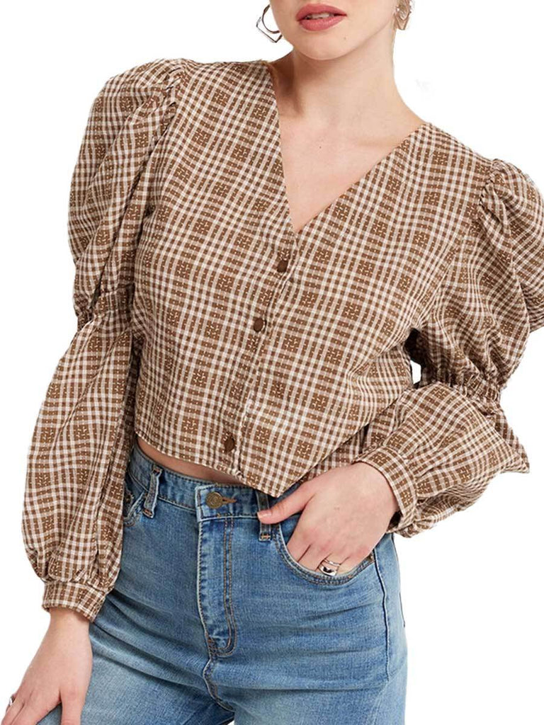 Vintage Plaid Blouse Backless Lace-up Puff Sleeve Top