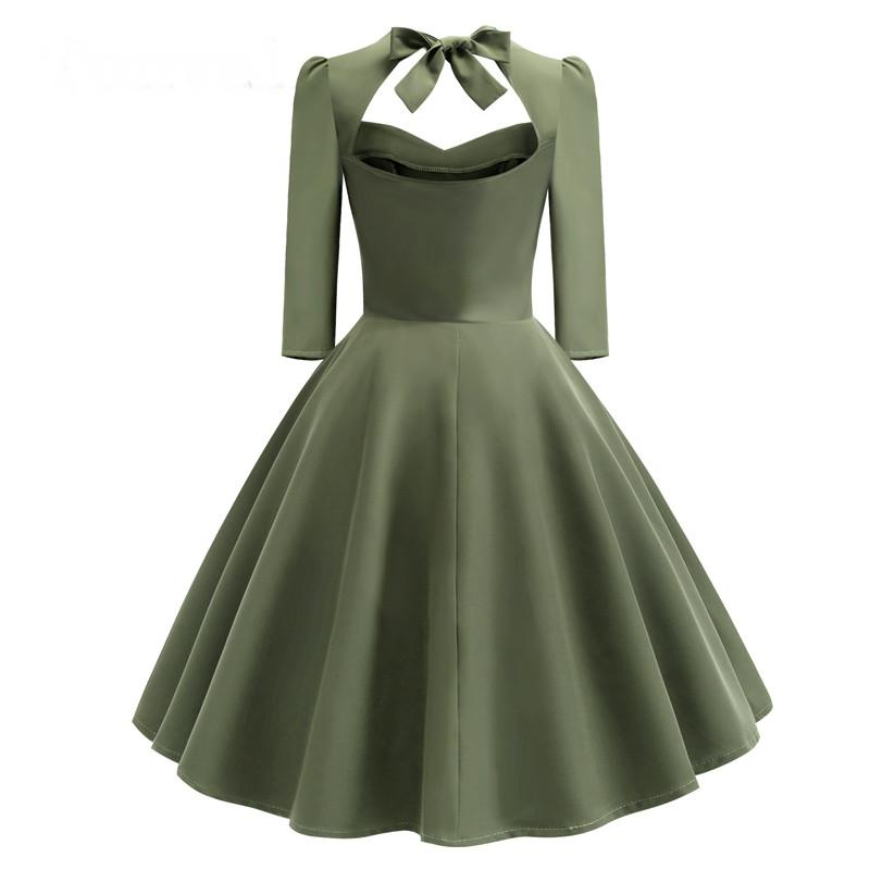 Vintage Green Elegant Backless Party Midi Swing Dress