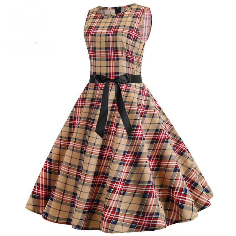 50s Retro Plaid Sleeveless Dress