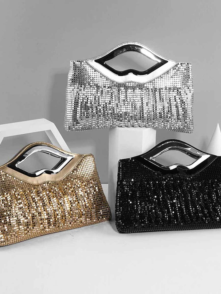 Sequin Lip-shaped Handle Shoulder Bag