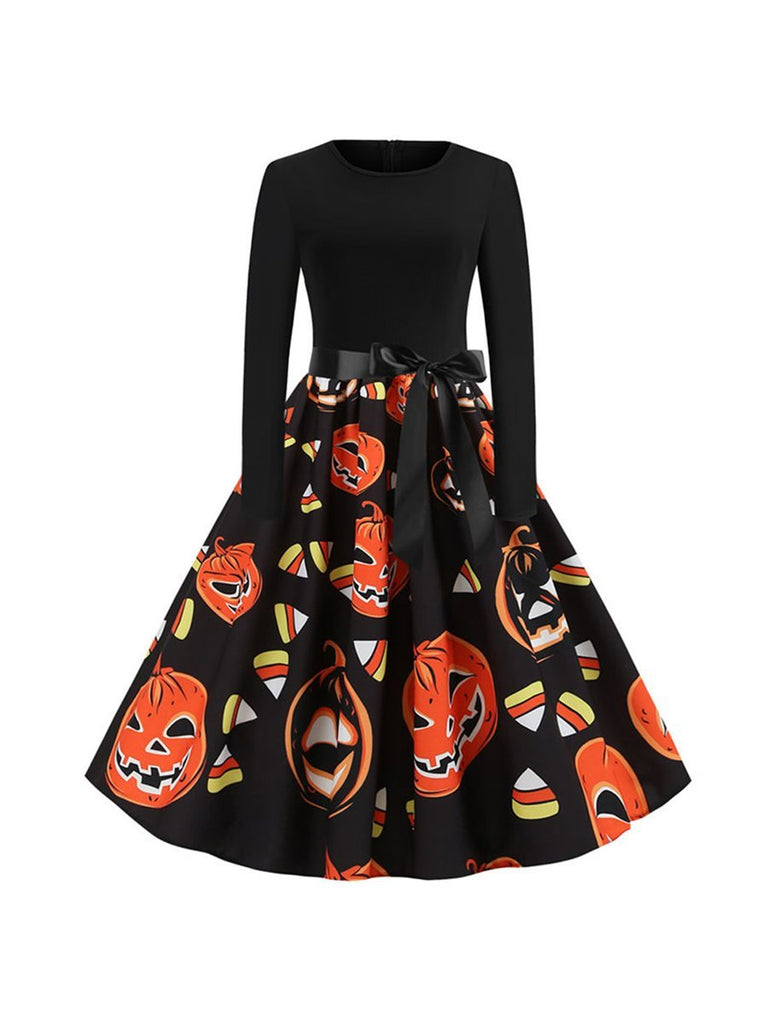 Halloween Long Sleeve Dress Pumpkin Print High Waist Party Dress