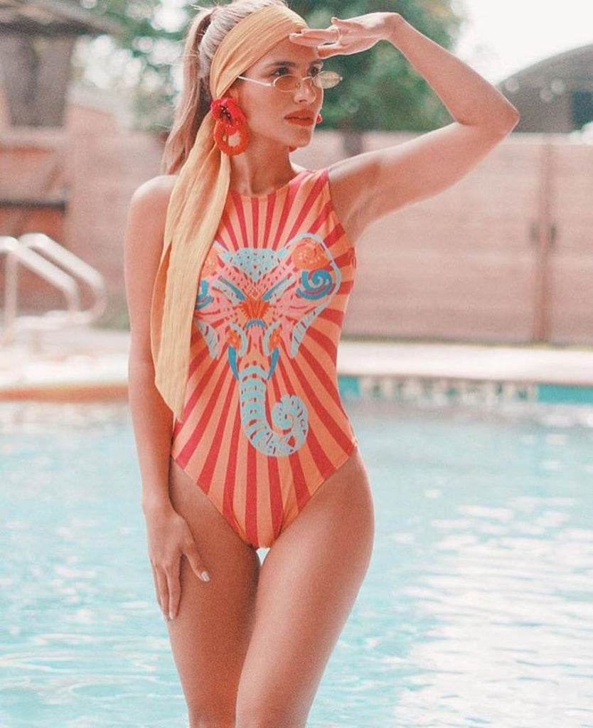 Print One Piece Swimsuit 2020 New Push Up Swimwear Women Vintage Retro Bathing Suits Bodysuit Beach Wear Backless Monokini