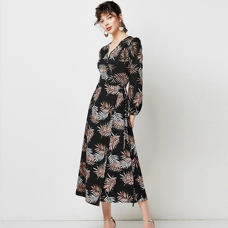 Women V Neck Sexy Split Elegant Dress 2020 Vintage Floral Print Boho Long Dress Casual Lantern Sleeve Ladies Midi Dresses Robe