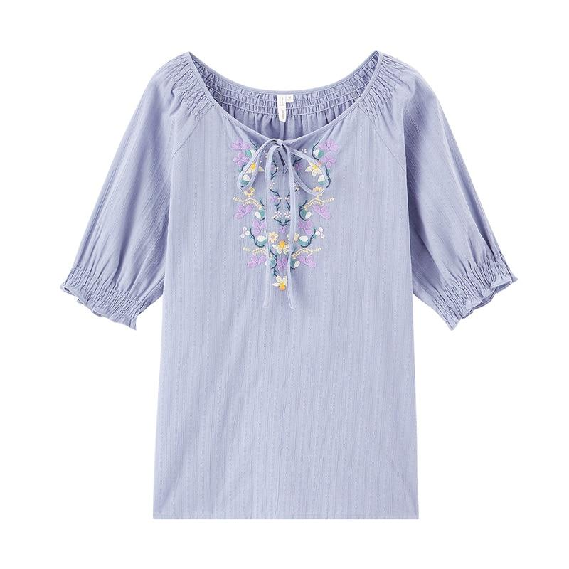 Pure Cotton Sweet Embroidered Bowknot Half Sleeve Pullover