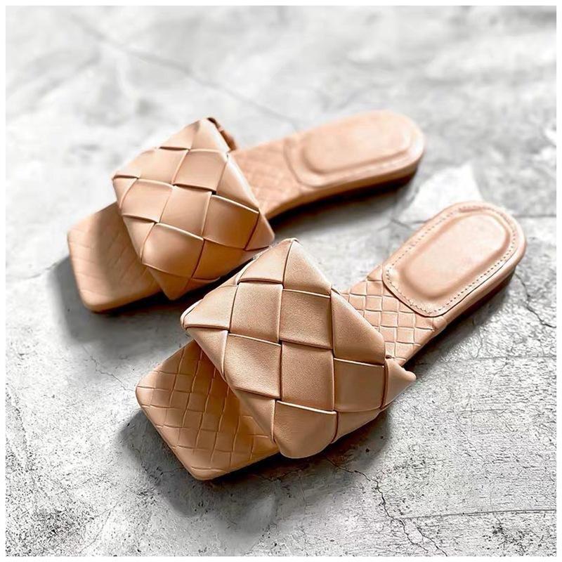 Weave Leather Women Open Toe Slides