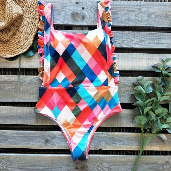 Hollow Out Swimsuit Solid Padded Swimming Suit