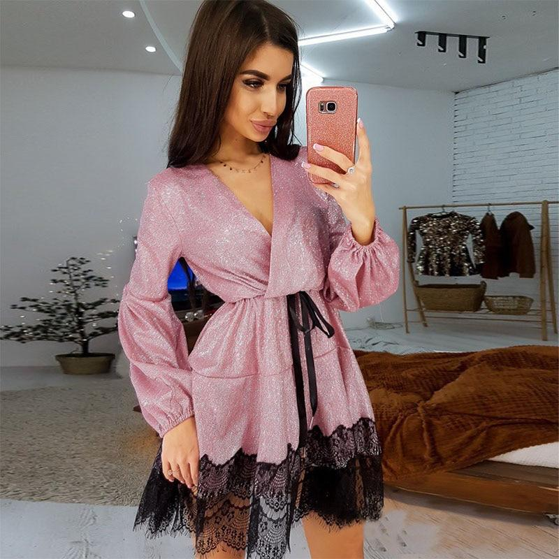 Women Vintage Lace Patchwork Bright Silk Shiny Dress Long SLeeve Sexy V neck Solid Dress 2020 Spring New Fashion Elegant Dress