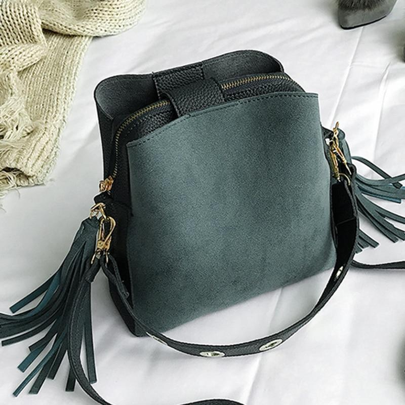 2019 Fashion Scrub Women Bucket Bag Vintage Tassel Messenger Bag High Quality Retro Shoulder Bag Simple Crossbody Bag Tote