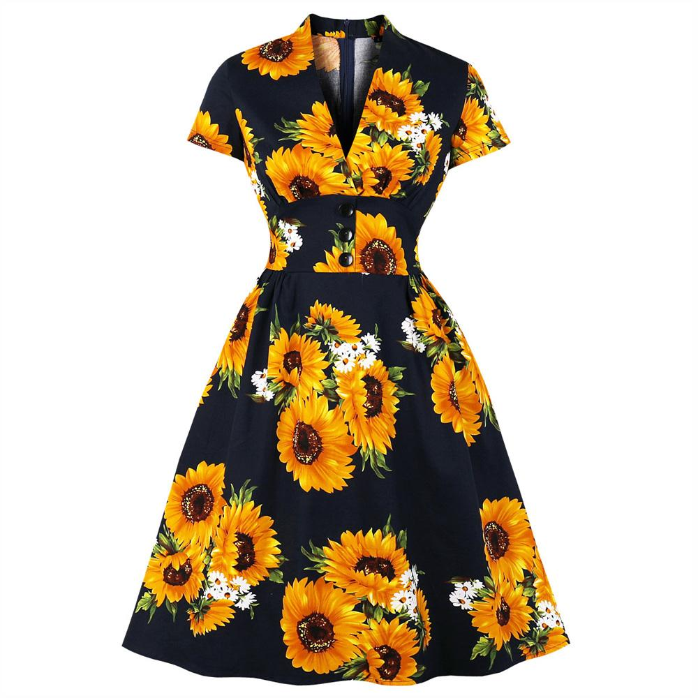 Wipalo Summer Women Elegent Dress V-Neck Sunflower Print Three Button Vintage Party Vestidos Short Sleeve Women Dress Plus Size