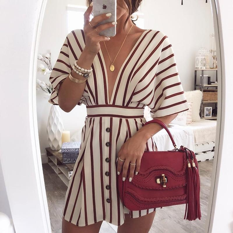 Casual Striped Button Loose Dress