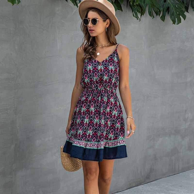 Short Backless Slip Elastic Waist Buttons Cotton Mini Sundress