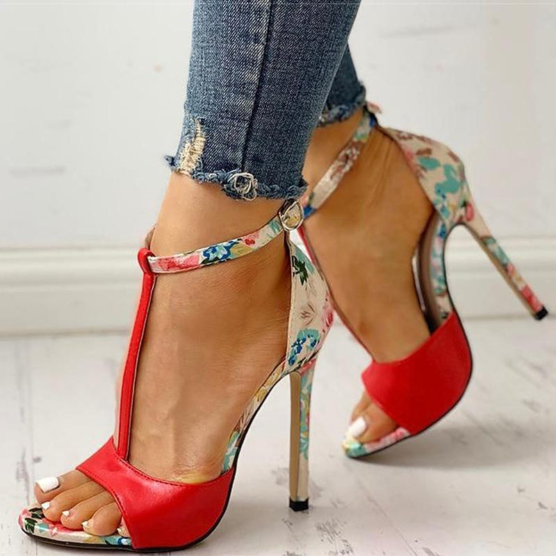 T-Strap Peep Toe High Heels Sandals