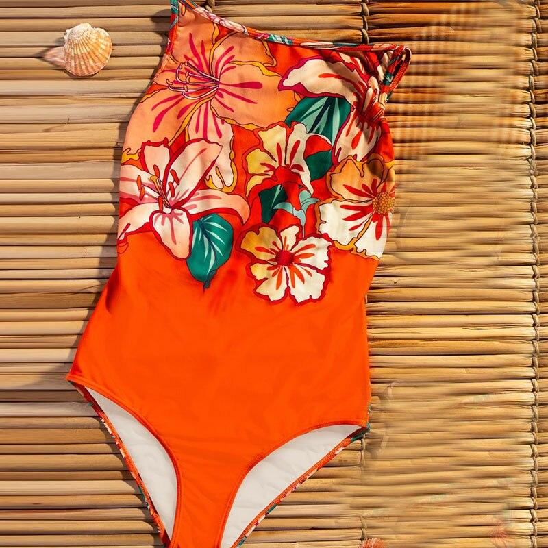 One Piece Swimsuit Push Up Print Vintage Bathing Suit