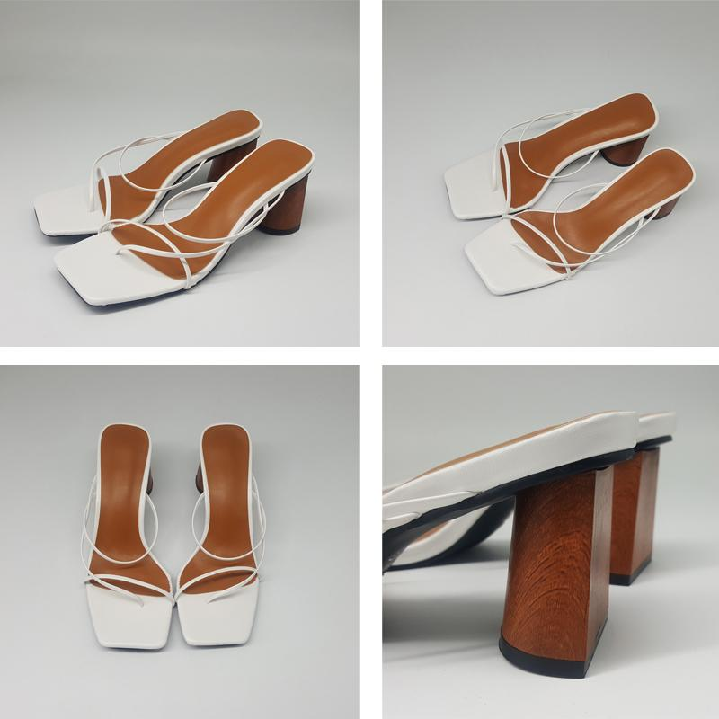 Vintage Square Toe Narrow Band High Heel Sandals