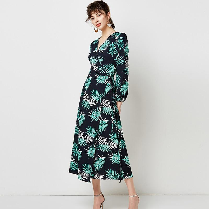 Vintage V Neck Sexy Floral Print Long Dress