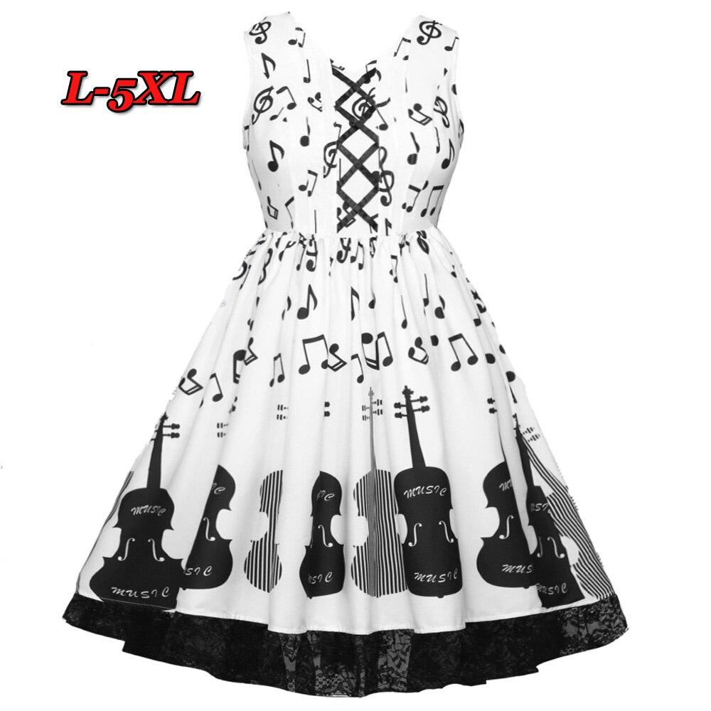 Wipalo L-5XL Women Plus Size Dress Elegent A-Line Party Dress Sleeveless V-Neck Bandage Guitar&Note Print Vintage Vestidos Femme