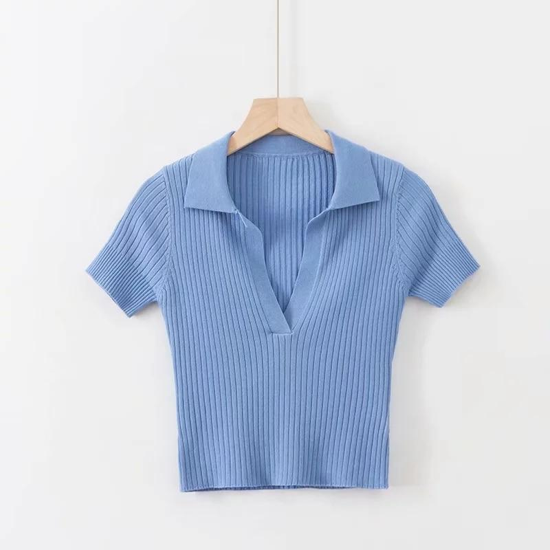 Vintage Polo Shirt Short Sleeve Cropped Top