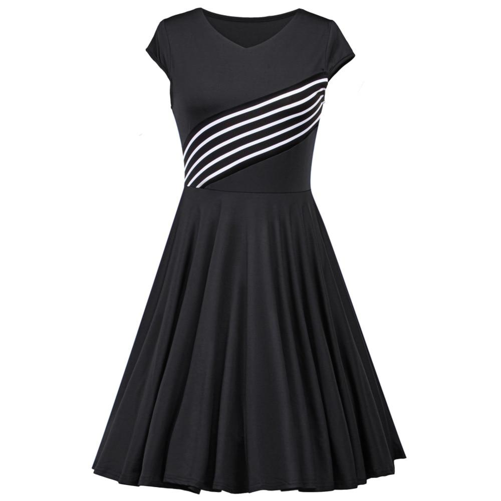 Wipalo Women Vintage Round Neck Pin Up Swing Dress Stripe Stitching Short Sleeve Evening Party Rockabilly Retro Dress Vestidos