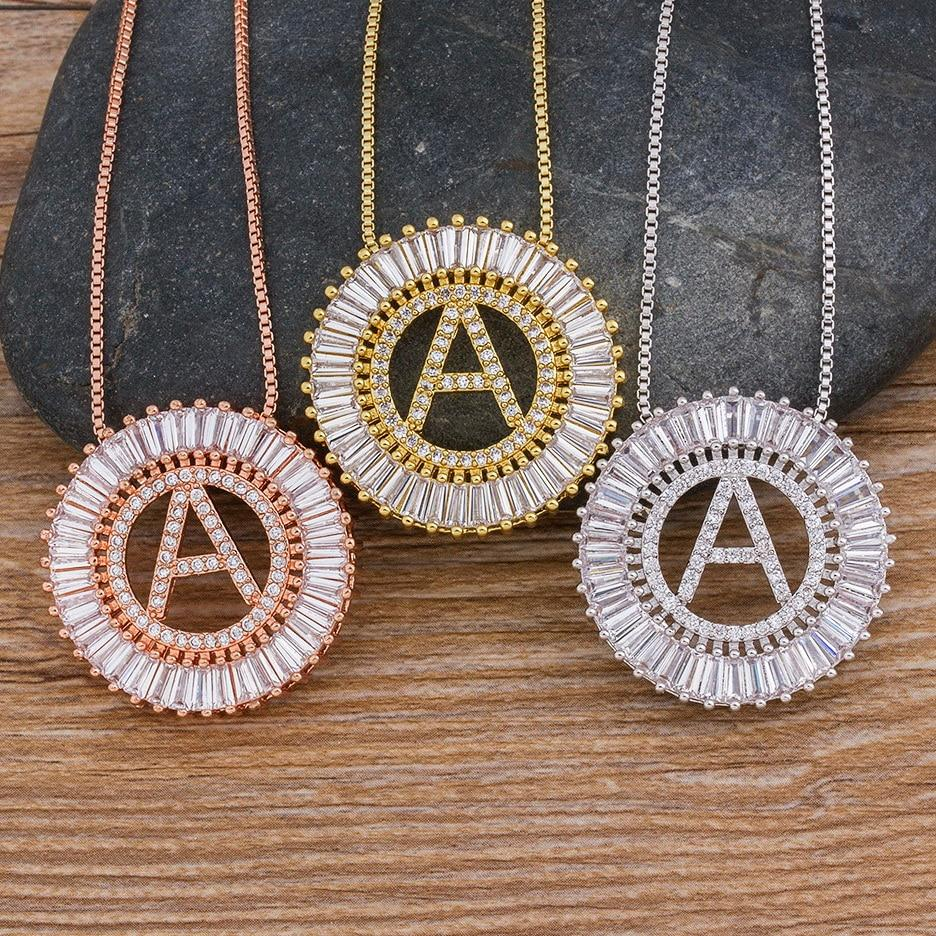 Hot Sale A-Z Initials 3 Colors Chooses Micro Pave CZ Letter Pendant Necklaces For Women Charm Chain Family Jewelry Gift