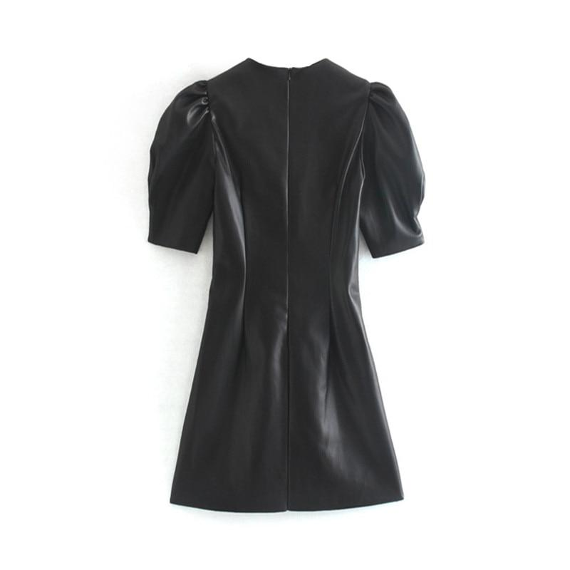 Faux Leather Dress Women Sexy Club Puff Short Sleeve Bodycon Party Dress Vintage Pleated Tunic Black Mini Dress Vestidos