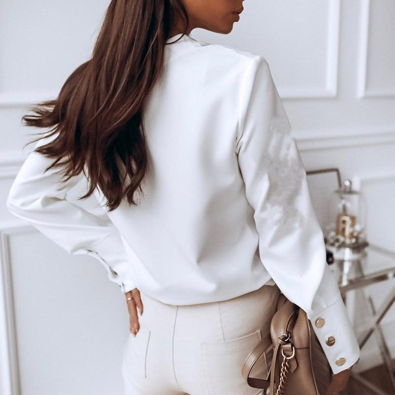 Long Sleeve Button Fashion Woman Solid Blouse