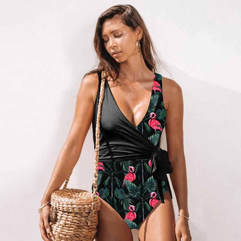 One-Piece Swimsuit For Women Patchwork  Leaves Print Push Up Swimwear