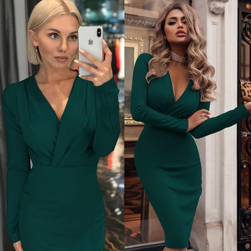 Women Vintage Sexy Bodycon Slim Party Dress Long Sleeve Deep V neck Solid Casual Elegant Dress 2019 Winter New Fashion Dress