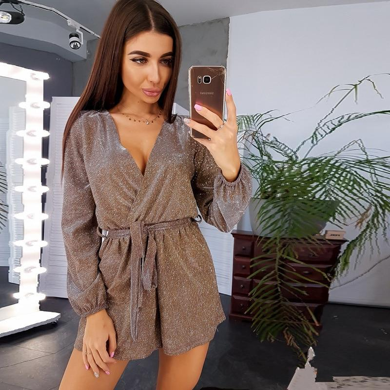 Women Vintage Sashes Gold wire Jumpsuit Long Sleeve Sexy V neck Solid Casual Elegant  Romper 2019 Autumn New Fashion Shorts